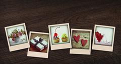 Kollaasi polaroid postikortteja Piirros