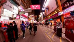 Mong Kok Hong Kong night time lapse Stock Footage