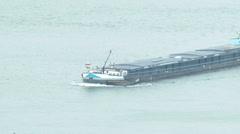 4K Bargemaster on River Danube Border Hungary Slovakia 2 winter Stock Footage