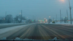 Driving Dash Cam Video in Heavy Snow Stock Footage