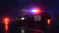 Stock Video Footage of Police Car in Winter at Roadblock with heavy fog