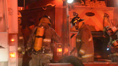 Rural firefighting with steam off truck in Winter - stock footage