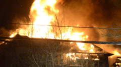Flames Through Roof at Mansion Fire 2 Stock Footage