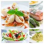 Mediterranean food collage Stock Photos