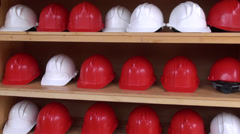 Mine Helmets, Head Protection, Hard Hats Stock Footage
