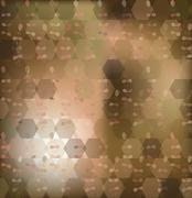 abstract background from hexagons, plants, blur - stock illustration