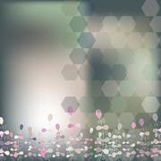 background from hexagons, plants, blur - stock illustration