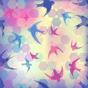 seamless texture with swallow and hexagon - stock illustration