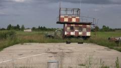 Old historical machine on rural airfield Stock Footage