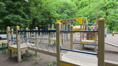 Playground, long obstacle course Stock Footage