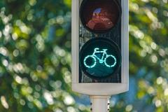 bicycle traffic light in the netherlands - stock photo