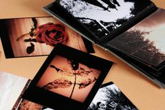 Photo album with copy space Stock Photos