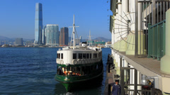 Asia China Hong Kong skyline Star Ferry metropolis building Sky100 Stock Footage