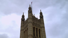 Victoria Tower Westminster, with flag, time lapse Stock Footage