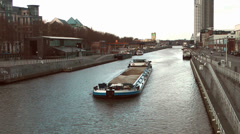 Canal Barge Transporting Frieght Stock Footage