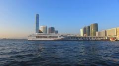 Asia China Hong Kong skyline metropolis high-rise building Sky100 observation Stock Footage