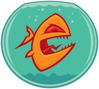 Angry Goldfish Cartoon - stock illustration