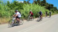 Stock Video Footage of Group of cyclists on the road