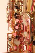 Brass tenor sax in closeup Stock Photos