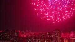 Firework and lightnings in night Kiev city Stock Footage