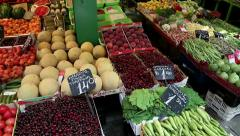 Shop counter with fresh fruits Stock Footage
