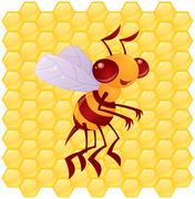 Honey Bee with Honeycomb Background Stock Illustration