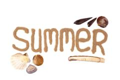Summer sign written with sand Stock Photos