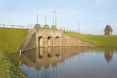 Historic brick river inlet built within dam Stock Photos