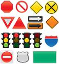 Stock Illustration of Map and Traffic Signs and Symbols