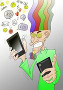 cell addict - stock illustration