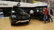 Stock Video Footage of Mercedes-Benz M-class at automotive-show