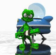 Alien cartoon character - stock photo
