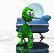Alien cartoon character - stock photo