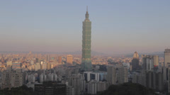 Taipei 101 sunrise from one of the best view points Stock Footage