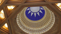 National Chiang Kai-shek Memorial Hall  patterned ceiling inside main temple Stock Footage