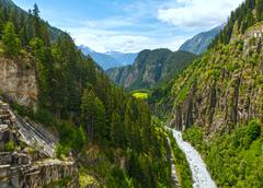 Summer mountain canyon (alps, switzerland) Stock Photos