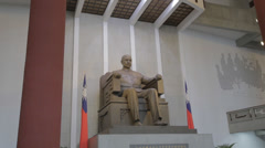 Sun yat sen statue from angle Stock Footage