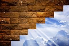 Blue sky with sunlight through the hole in the brick wall Stock Illustration
