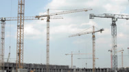 Stock Video Footage of tower crane time lapse