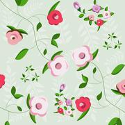 floral decoration, seamless pattern - stock illustration