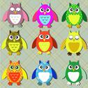 Stock Illustration of colorful owls