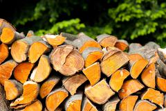 Many alder logs wood split heap Stock Photos