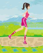 Teen girl having fun on roller skates Stock Illustration
