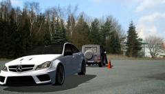 Car Jump over Car  Movie Stunt Stock Footage