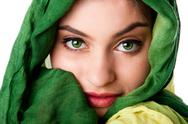 Face with green eyes and scarf Stock Photos