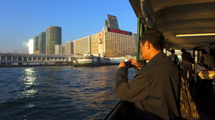 Chinese Asian Tourist on Star ferry Hong Kong China Asia - stock footage