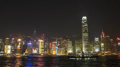 Asia China Hong Kong skyline Harbor Harbour Symphony of Lights Stock Footage