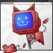 Digital Cat & Mouse Cartoon Characters Stock Illustration