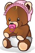 Baby Teddy Bear Cartoon Character Stock Illustration