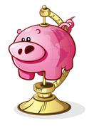 Piggy Bank Globe on a Stand Cartoon Character Stock Illustration